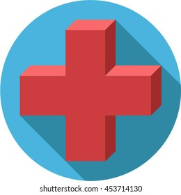Medical cross icon flat design
