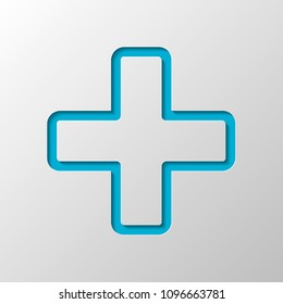 Medical cross icon. Paper design. Cutted symbol with shadow