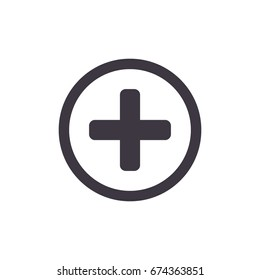 Medical Cross Icon. Vector add, plus button icon.