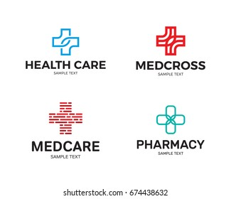 Medical Cross logo design template set. Vector collection of health care doctor emblems, signs, badges. Graphic plus icon symbols for hospital, ambulance. Pharmacy label illustration background