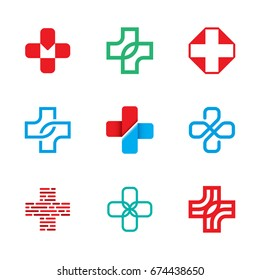 Medical Cross logo design template set. Isolated plus icon symbols for hospital, ambulance, pharmacy. Vector collection of health care emblems, signs, badges. Doctor label illustration background