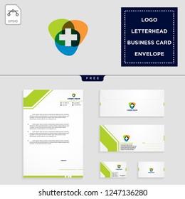 medical cross logo template vector illustration and free letterhead, envelope, business card design