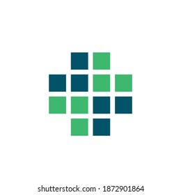 Medical cross logo.Healthcare and doctor sign.Pharmacy icon isolated on light background.First aid geometric symbol for medics, doctors and emergency ambulance.Blue and green square shapes.