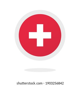 Medical cross plus round circle icon vector, idea of Switzerland sign, pharmacy logo element concept isolated red color