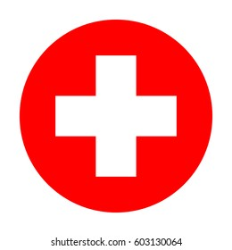 Medical cross in a red circle.