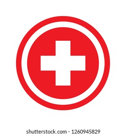 Medical cross in red circle.healthcare plus sign. switzerland national flag. Plus mark vector isonlate on white background.