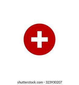 Medical cross. Red flat icon. Vector illustration symbol
