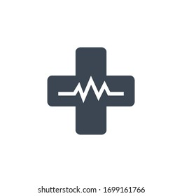 Medical Cross related vector glyph icon. Isolated on white background. Vector illustration.