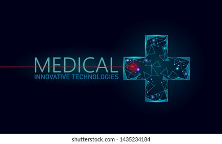 Medical cross symbol doctor online concept. Medical consultation app. Web healthcare diagnosis geometric modern hospital network banner. Calling pharmacy market background low poly