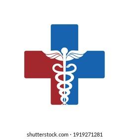 Medical cross symbol snake logo design template vector based design