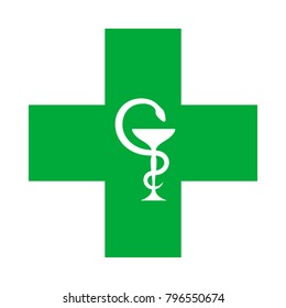 Medical Cross (with the bowl of Hygeia).  Modern Emblem of healthcare, medicine and pharmacy.