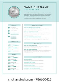 Medical CV / resume template example design for doctors - white and teal color background curriculum vitae - minimalist clean and clear vector design