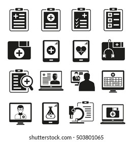 medical data clipboard icons, medical data icons