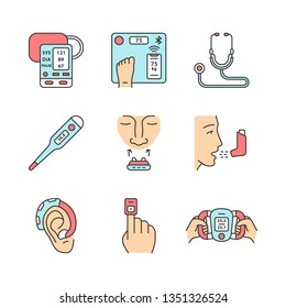 Medical devices color icons set. Blood pressure monitor, body weight smart scales, thermometer, anti snoring nose clip, inhaler, hearing amplifier, finger pulse oximeter. Isolated vector illustrations