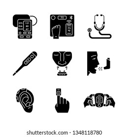 Medical devices glyph icons set. Blood pressure monitor, digital thermometer, anti snoring clip, inhaler, hearing amplifier, finger pulse oximeter. Silhouette symbols. Vector isolated illustration