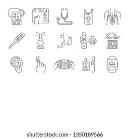 Medical devices linear icons set. Stethoscope, inhaler, oximeter, thermometer, pedometer, glucometer, smart scales. Thin line contour symbols. Isolated vector outline illustrations. Editable stroke