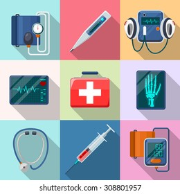 Medical devices set. Tonometer and phonendoscope, defibrillator and X-ray.  Care and tool, healthcare and aid, equipment collection, cardiogram and instrument, vector illustration