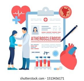 Medical diagnosis - Atherosclerosis. Doctor taking care of patient. Heart attack. Blood vessel section with fatty deposit accumulation. High Cholesterol Blood Pressure. Thrombus in vessel. Vector.