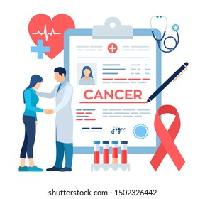 Medical diagnosis - Cancer. Doctor taking care of patient. Detecting and Diagnosis of Oncological Disease. Cancerous Malignant Tumor. Chemotherapy. Breast Cancer Awareness Ribbon. Vector illustration.