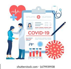Medical diagnosis - Coronavirus 2019-nCov. Medical concept of COVID-19. Doctor taking care of patient. Coronavirus symptoms. Lungs infection. Dangerous corona virus pandemic risk. Vector illustration.
