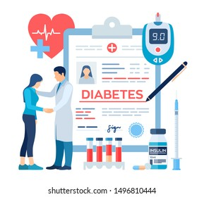 Medical diagnosis - Diabetes. Diabetes mellitus type 2 and insulin production concept. Doctor taking care of patient. Blood glucose meter, pills, syringe and insulin vial. Vector illustration.