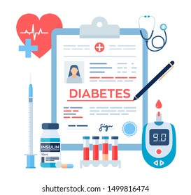 Medical diagnosis - Diabetes. Diabetes mellitus type 2 and insulin production concept. Blood glucose meter, pills, syringe and insulin vial. Vector illustration.