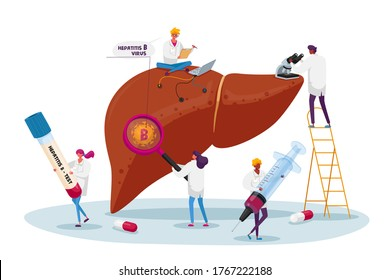 Medical Diagnosis Hepatitis B World Day, Cirrhosis Concept, Tiny Doctor Characters Care of Huge Patient Diseased Liver, Health Care, Cancer Awareness, Treatment. Cartoon People Vector Illustration
