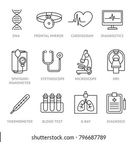 Medical diagnosis icons set. Magnetic resonance imaging, stethoscope, sphygmomanometer, x-ray,  blood test, thermometer, microscope, cardiogram.