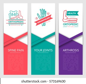 Medical diagnostic clinic banner template. Orthopedics and rheumatology health center symbols with hand, foot, pelvis and shoulder joints. Back pain, arthrosis and joint disease therapy design