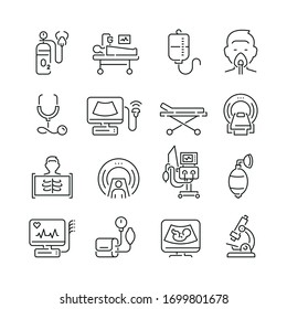 Medical diagnostic equipment related icons: thin vector icon set, black and white kit