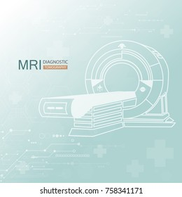 Medical diagnostic. MRI scanner machine technology and diagnostics , medical Health care Vector illustration.