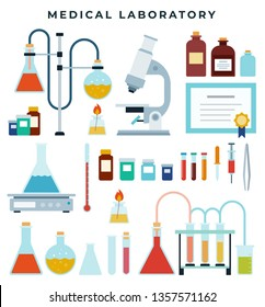 Medical diagnostic or scientific laboratory equipment, set of flat icons. Flask, vial, jar, microscope, tweezers, reagents, beaker. Vector illustration on medical, scientific, educational theme.