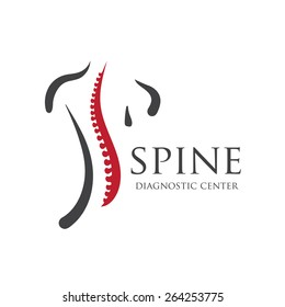Medical diagnostic spine center. Vector logo