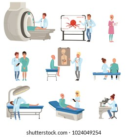 Medical diagnostic and treatment of cancer set, doctors, patients and equipment for oncology medicine vector Illustrations