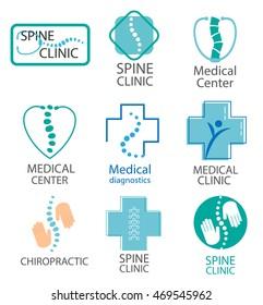 Medical diagnostics center, chiropractic, spine clinic logo, signs and symbols set, vector illustration
