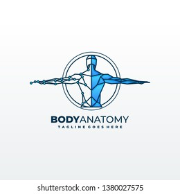 medical diagnostics symbol or logo. Medicine and anatomy, backbone and scoliosis, analysis and research, vector illustration