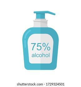 Medical disinfection spray bottle flat icon. Medical bottle illustration.