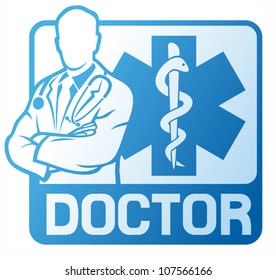 medical doctor and caduceus snake with stick sign