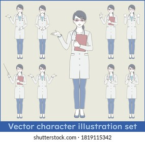 Medical / doctor hand-painted style full-body illustration set of a female doctor wearing a white coat and glasses