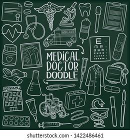Medical Doctor Hospital. Chalkboard Doodle Icons. Sketch Hand Made Design Vector Art.