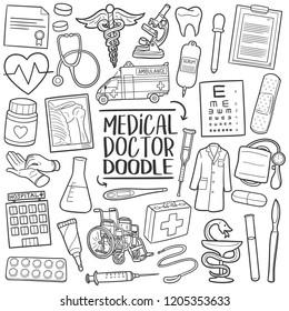 Medical Doctor Medicine  Traditional Doodle Icons Sketch Hand Made Design Vector