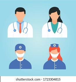 Medical doctor and nurse staff sign. Illustration or icon of medical people