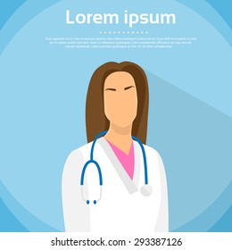 Medical Doctor Profile Icon Female Portrait Flat Design Vector Illustration