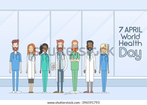 Medical Doctor Team Group Health Day Thin Line Vector Illustration