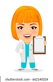 Medical doctor woman holding clipboard. Funny cartoon character with big head. Vector illustration. EPS10
