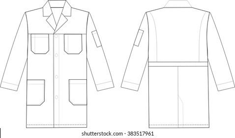 Medical doctor working cooking coat. Fashion sketch illustration