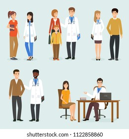 Medical doctors with their patients in different situations. Five medicine situations with different people
