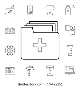 Medical Document icon. Archive data file. Set of medicine tools icons. Web Icons Premium quality graphic design. Signs, outline symbols collection, simple icons for websites on white background