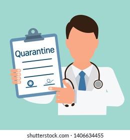 Medical document, prescription quarantine. Flat design, uniform background.
