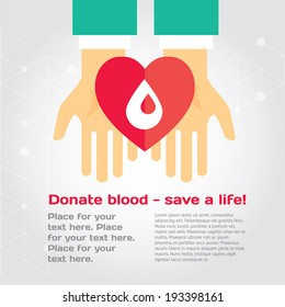 Medical donation. Hands give heart to another. Modern vector illustration with place for text. Layered file